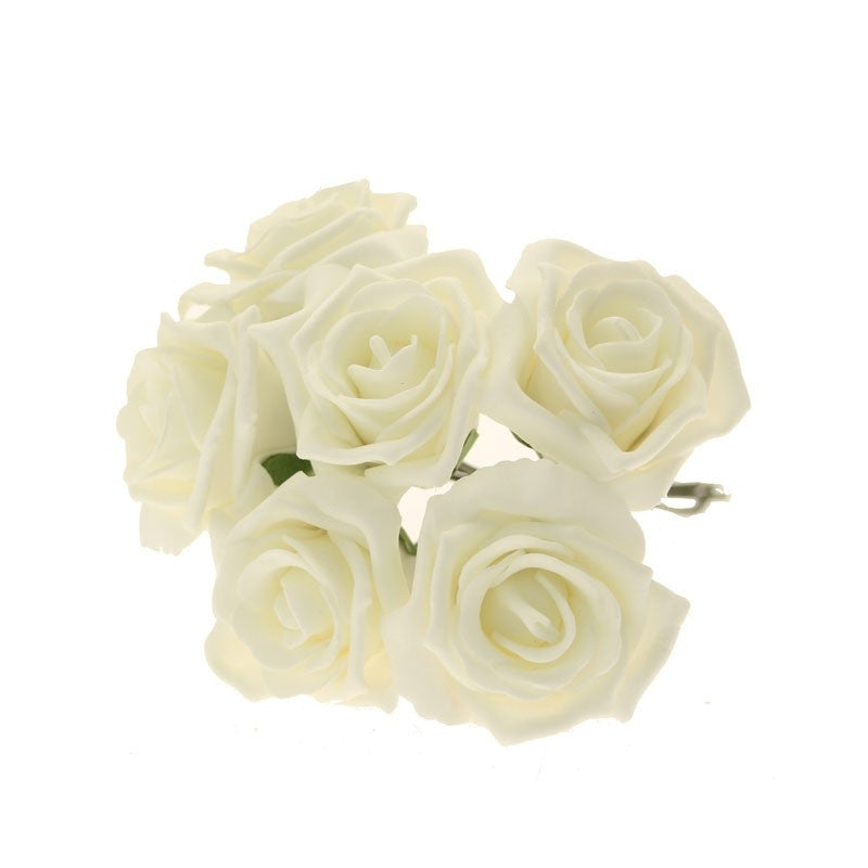 Small Foam Roses in Ivory x6 - Wedding Boutique