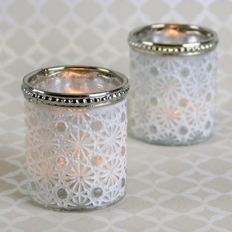 Cream Pearl Diamante Votive