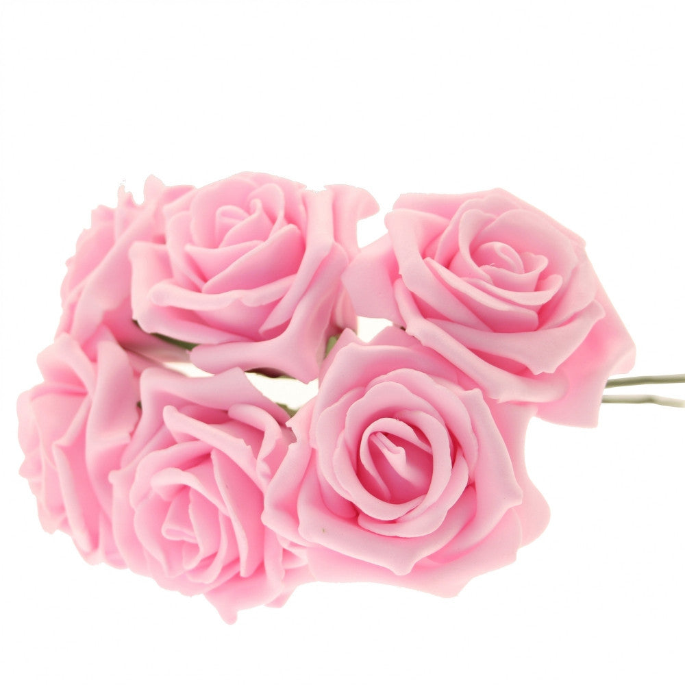 Small Foam Roses in Pink x6 - Wedding Boutique