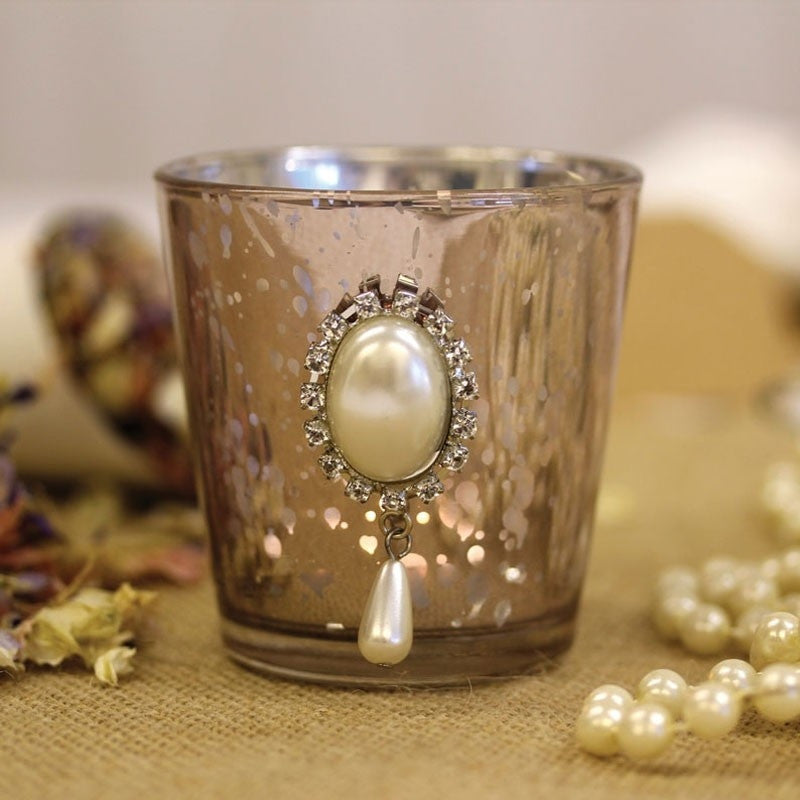Vintage Lilac Bead Tea Light Holder - Wedding Boutique