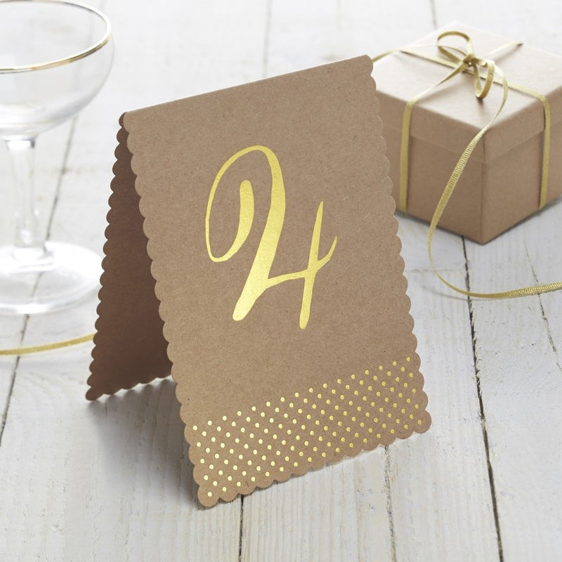 Kraft and Gold Foil Table Numbers 1-12 - Wedding Boutique