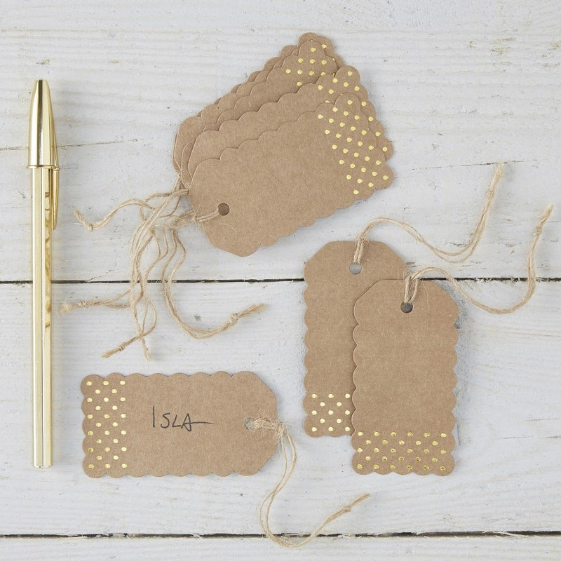 Kraft and Gold Luggage Tags x10 - Wedding Boutique