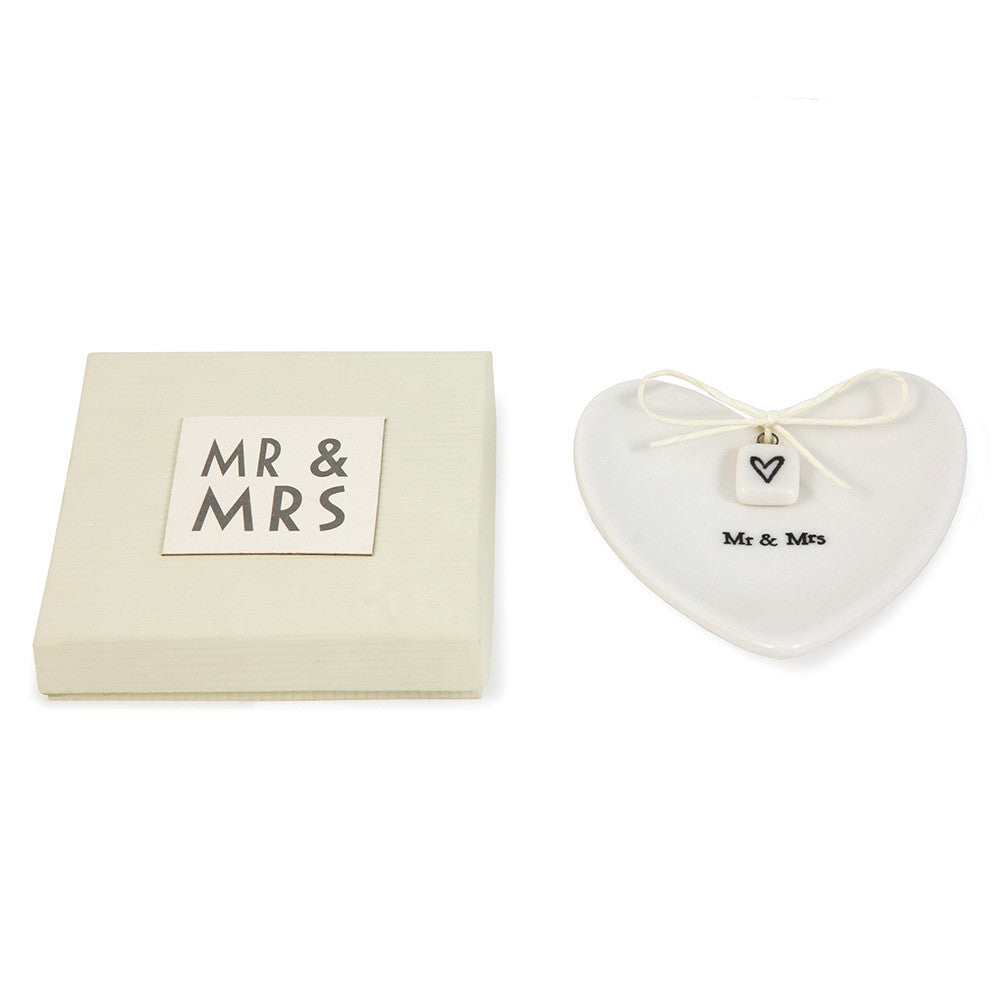 Mr & Mrs White Porcelain Ring Dish - Wedding Boutique
