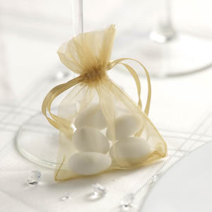 Organza Favour Bags in Gold - Wedding Boutique