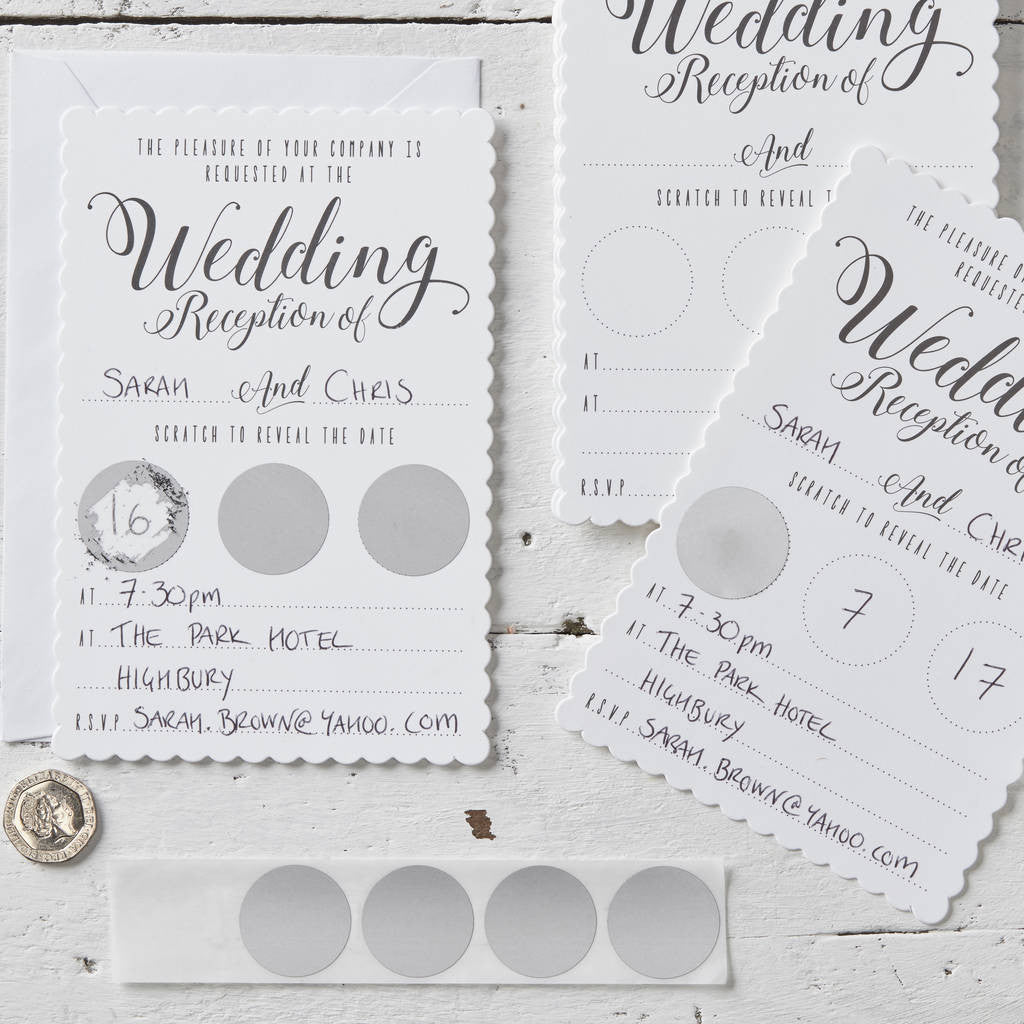 Scratch & Reveal Wedding Evening Invitations - Wedding Boutique