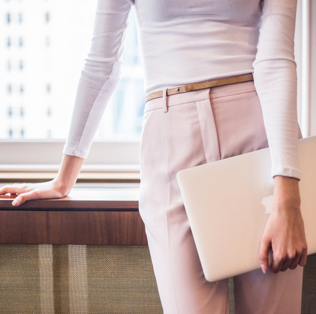 The New Neutrals: Work Pants in Powder Pink and Cloud Grey
