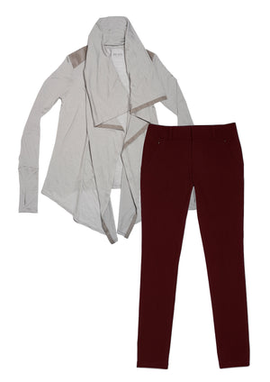 24/7 Pants Bordeaux & Good-to-Go Cardi Mist Grey Combo Pack