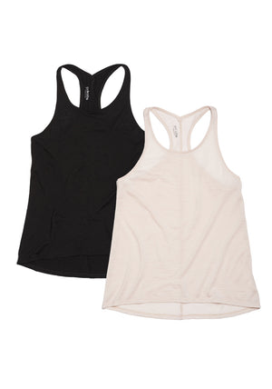 racerback tank top combo pack in jet black and blush pink