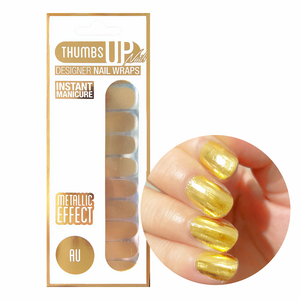 Au Gold Metallic Nail Wraps