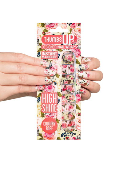 High Shine Effect - Country Rose Floral Nail Wraps