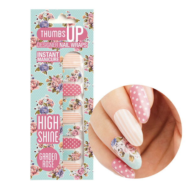 High Shine Effect - Garden Rose Nail Wraps