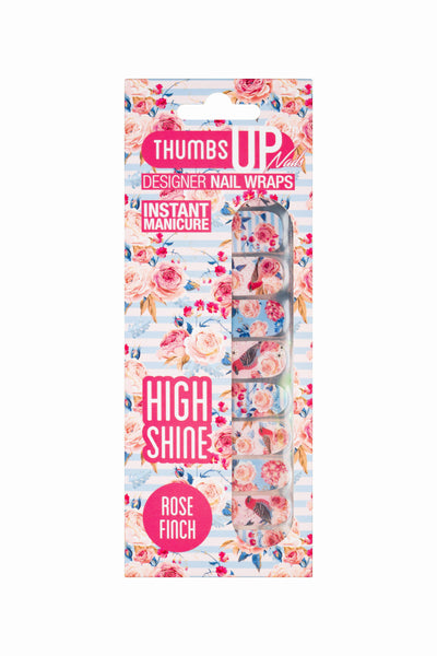 High Shine Effect - Rose Finch Floral Nail Wraps