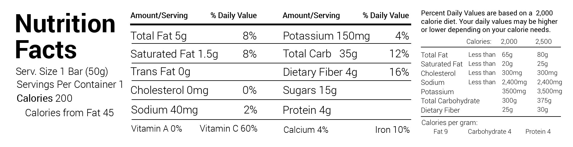 all natural oat bar nutrition facts