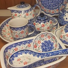 964 Red Posies Pattern Polish Pottery