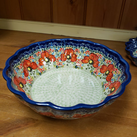 Bowl ~ Fluted Z1279 ART296 Red Poppies