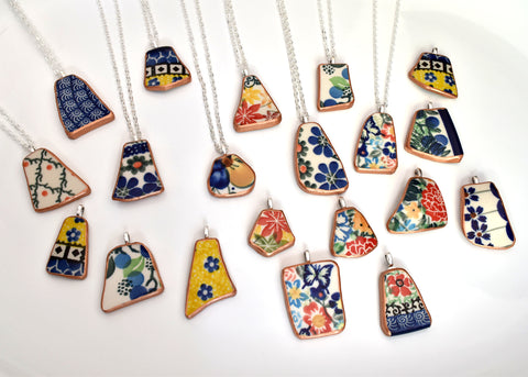 Necklace of broken Polish Pottery!