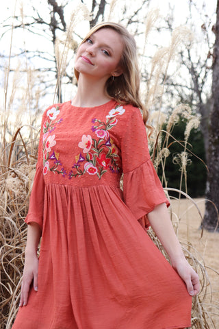 Floral Embroidered Bell Sleeve