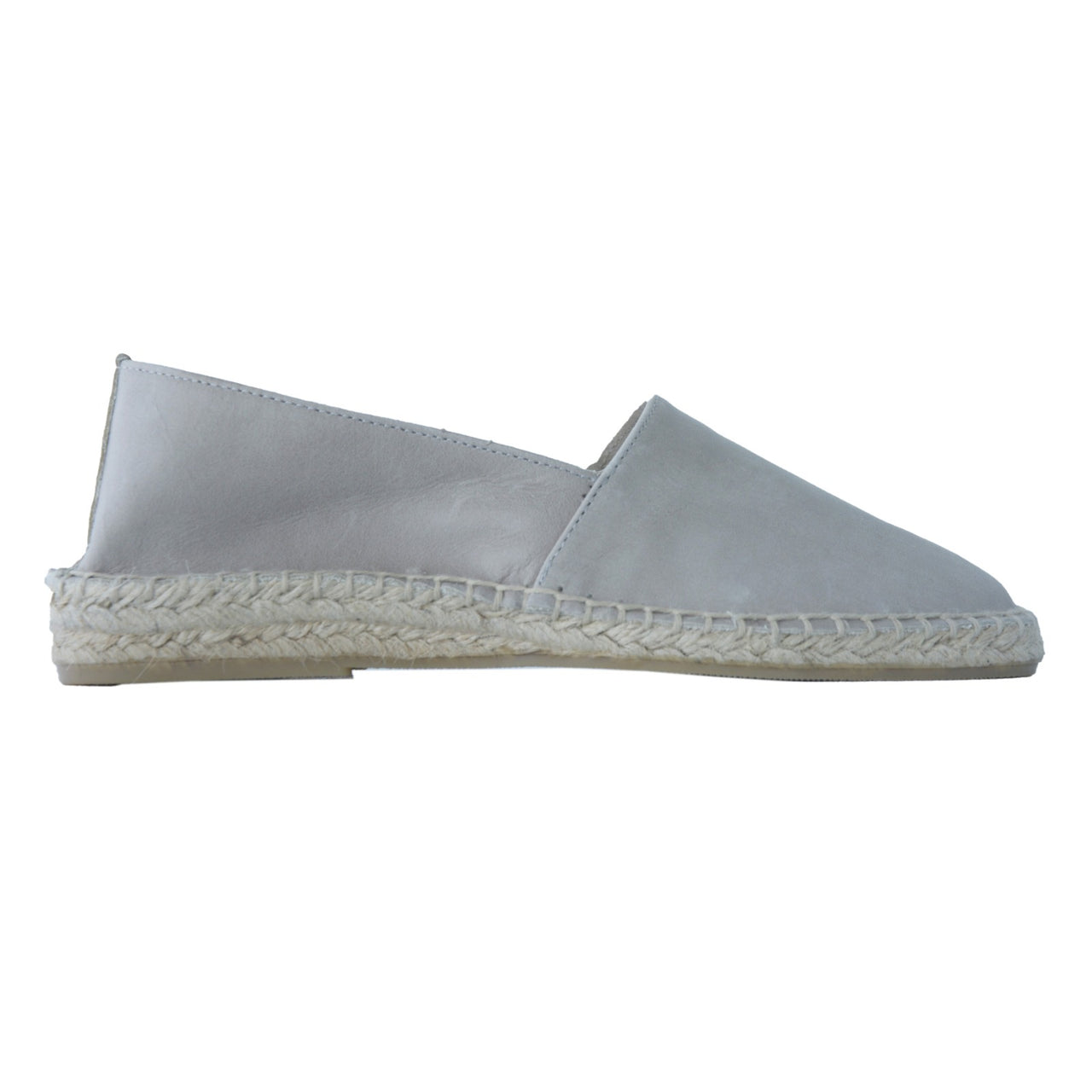 ZEN Light Grey leather flat espadrilles - Badt and Co - singapore
