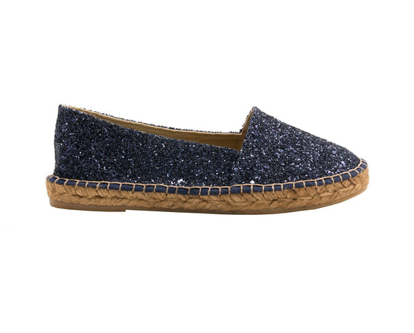 GLITTER Navy espadrilles - Badt and Co - singapore