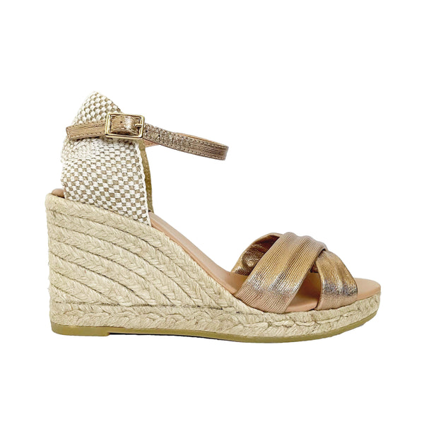 GARRY Leather Rose Gold espadrilles