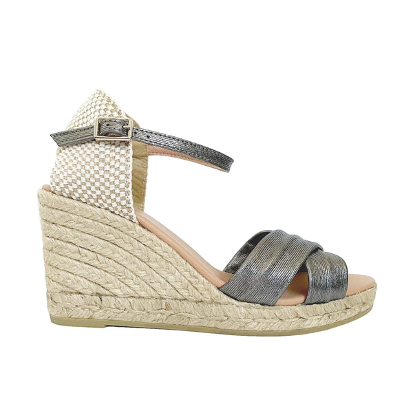 GARRY Leather Charcoal-grey espadrilles