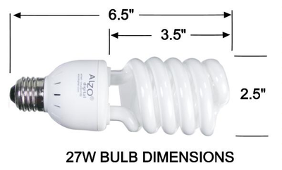 ALZO 27W CFL Video-Lux photo light bulb dimension diagram