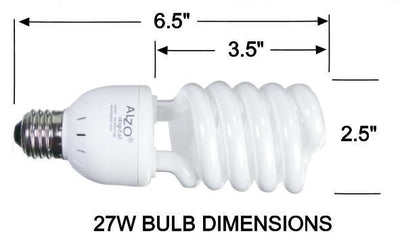 ALZO 27W CFL Photo Light Bulb 5500K dimension diagram