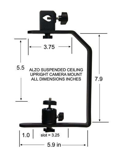 ALZO Upright Camera Ceiling Mount dimension diagram