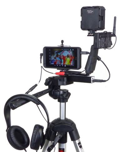 ALZO Smartphone Mini Video Rig Hand Grip with Shoe Mounts on tripod with LED light