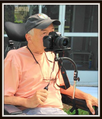 ALZO Wheelchair Camera Mount installed with shutter release
