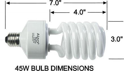 ALZO 45W CFL Video-Lux® Photo Light Bulbs dimension diagram