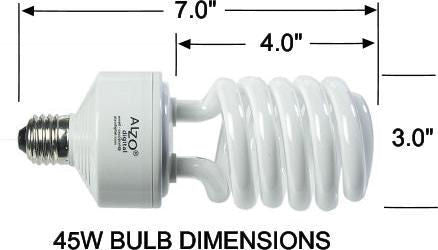ALZO 45W CFL Video-Lux® Photo Light Bulb dimension diagram