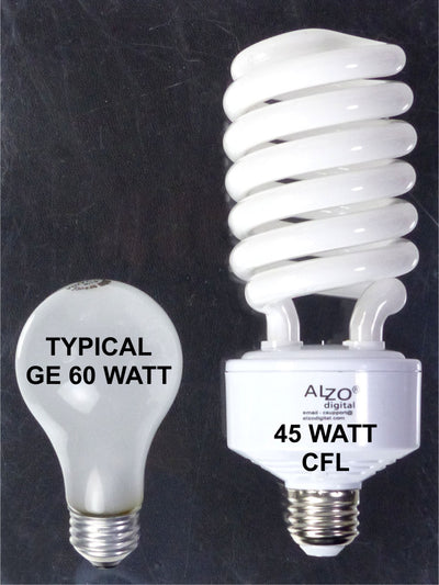 ALZO 45W CFL Video-Lux® Photo Light Bulb 5600K size comparison 60W