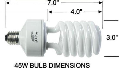 ALZO 45W CFL Photo Light Bulb 5500K dimension diagram
