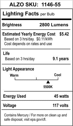 ALZO 45W CFL Photo Light Bulb 5500K lighting facts