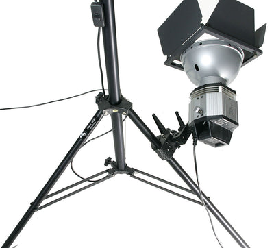 Super Clamp with 5/8 Light Mount Stud on tripod leg