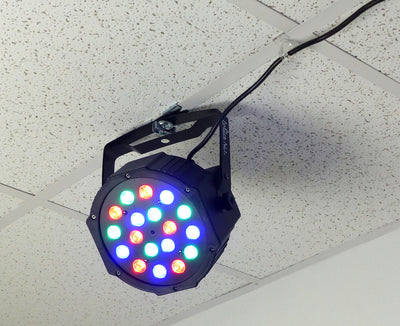 DJ color stage LED light mounted to suspended drop ceiling