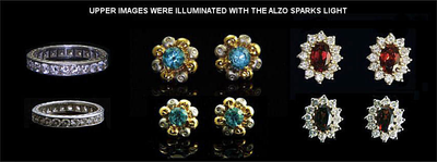ALZO Sparks Light for Jewelry and Gemstone Product Photography jewelry samples