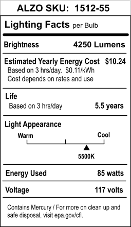 ALZO 85W Joyous Light® Full Spectrum CFL Light Bulb 5500K lighting facts