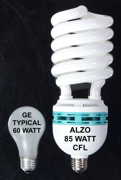 ALZO 85W Joyous Light® Full Spectrum CFL Light Bulb 5500K size comparison 60W
