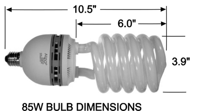 ALZO 85W CFL Photo Light Bulb 5500K dimension diagram