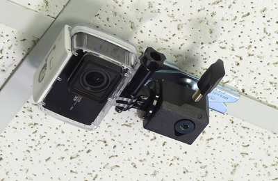 ALZO Suspended Drop Ceiling Action Camera Mount for GoPro on ceiling with camera face down