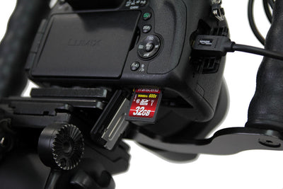 ALZO Liberator Battery Door Clearance Plate Panasonic Lumix with open door and card