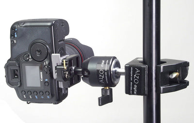 ALZO Ball Head Camera Support with Super Clamp on stand with camera