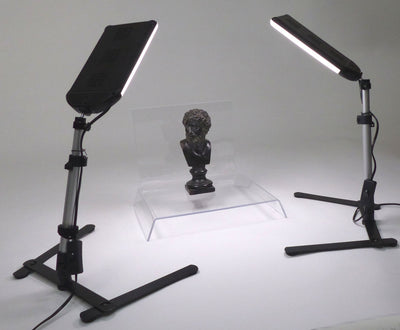 ALZO 100 LED Table Top Platform Light Kit - Black & Clear Shooting Tables for Jewelry Photography