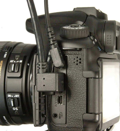 ALZO DSLR Audio and Video HDMI 2 Right Angle Short Cord on camera