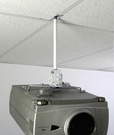 ALZO Short Suspended Drop Ceiling Video Projector Mount with Scissor Clamp for T-Bar Attachment with projector