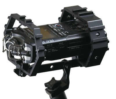 ALZO Shock Multi-Mount for Audio Recorders and Shotgun Microphones Plus Gear with Zoom H4N top angle