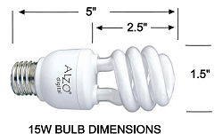 ALZO 15W Joyous Light® Full Spectrum CFL Light Bulb 5500K dimension diagram