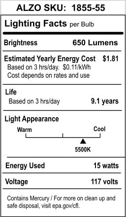 ALZO 15W Joyous Light® Full Spectrum CFL Light Bulb 5500K lighting facts